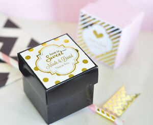 96 Personalized Rose Gold Copper Foil Mini Cube Candy Bridal Wedding Favor Boxes