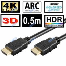 SHORT 50cm 4K Ultra HD 2160p HDMI Cable HDR HEC ARC ETHERNET 3D Black Lead 0.5m