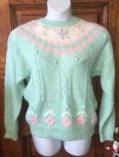JASON MAXWELL Vintage Hand Knit MINT GREEN & PINK Fairy Kei SWEATER, Size L