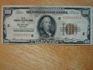 1929 $100 HUNDRED DOLLAR FEDERAL RESERVE BANK NOTE NATIONAL CURRENCY RICHMOND VA
