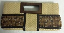 The Limited Unique Woven Straw Brown Clutch Acrylic Tiled Purse - FREE SHIPPING