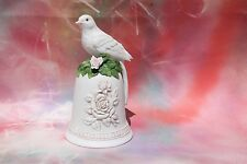 """Ganz 1995 """"Mourning Dove with Roses� Porcelain Bisque Bell, Songs of Seasons"""