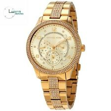 New Michael Kors Runway Gold Stainless Steel Bracelet MK6613 Womens Watch