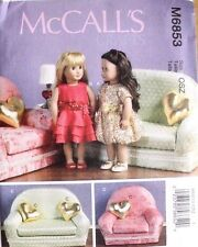 """18"""" GIRL DOLL CLOTHES & FURNITURE McCall's Sewing Pattern 6853 American Made NEW"""