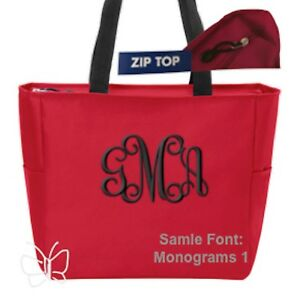 Custom Embroidered Personalized Monogrammed Tote Bag Red Zip Top  FREE NAME
