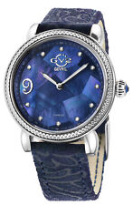 Gv2 By Gevril Women's 12603F Ravenna Floral Diamond MOP Dial Leather Swiss Watch