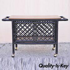 Vintage Mid Century Modern Black Bamboo Rattan Tiki Rolling Bar Cart Server