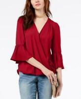 INC Women's  Surplice Neck Bell Sleeve Blouse Shirt Top (Red, L)