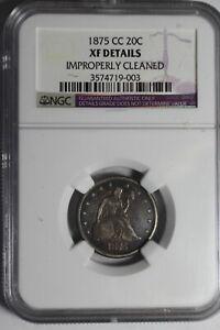 1875 CC 20 Cent XF Details NGC #003