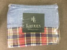 RALPH LAUREN Blue Chambray Plaid Kennebunkport TWIN FLAT SHEET - New Sealed