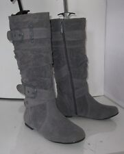 new ladies Gray Flat Sexy Knee Boot Round Toe Side Buckles Size 5.5