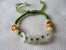 Adjustable Silk Knots Jade 6 Money Circle Beaded Bracelet w Pouch -Great 4 kids!