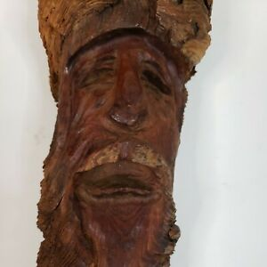 """12"""" Gnome Wood Hand Carved Pine Knot Old Man"""