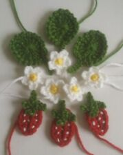 HANDMADE CROCHET STRAWBERRY, LEAF, FLOWER APPLIQUE/EMBELLISHMENT/ CARD MAKING