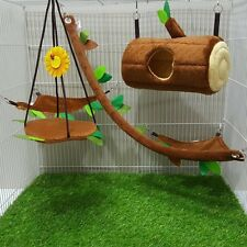 5 Pcs Sugar Glider Cage Set Horizontal Log Brown Forest Pattern,Marmoset,Hamster