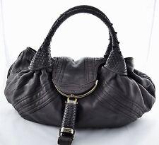 Fendi Spy Bag Purse Hand Shoulder Bag Satchel Grey Brown Nappa Leather Large