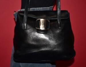 Vintage SALVATORE FERRAGAMO Black VARA Leather Flap Satchel Shoulder Bag Purse