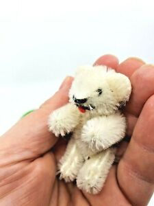 cute rare Schuco Heike Teddy Bear white 6,5 cm mohair vintage with Heike Tag