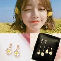 Elegant Korean Women Gift Daisy Flower Stud Ear Girl Dangle Earrings Jewelry
