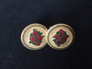 Vintage Round Gold Tone Cufflinks with Red Roses Design Men's Accessories
