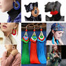 Lady Fashion Bohemian Earrings Boho Hook Drop Dangle Long Tassel Fringe Earring