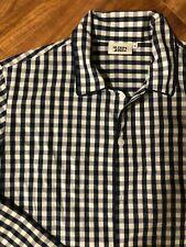 Men's SLEEPY JONES Pajama Shirt Top 100% Cotton Henry Navy White Gingham Size M