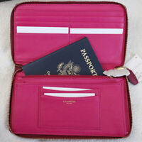 NEW COACH Legacy Leather Travel convenience zip Wallet Clutch Deep Red NWT $198