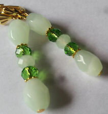 11x8mm Green Glass Faceted Barrel & Crystal Earrings-Lever Backs-Comb.Shipping
