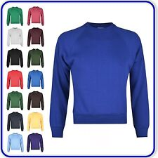 "Plain Crew Neck Sweatshirt Good Quality Boys Girls School Uniform sizes 22""-34"""