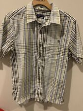 Patagonia M Yellow Blue Plaid Puckerware Cotton Blend Button Up Shirt