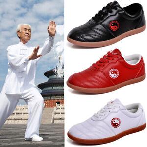 Leather Tai Chi Kung Fu Shoes Martial Arts Taiji Sneakers Unisex Taolu Footwear