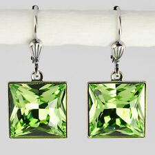 Grevenkämper Ohrringe Swarovski Kristall Silber Carrée 12 mm grün green Peridot