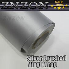 "12""x60"" Silver Brushed Aluminum Vinyl Wrap Film Car DIY Sticker Air Release"