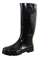 Ladies Black Gloss Wide Leg Wellington Flat Boots Wellies Rain Snow Welly Mud