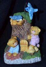 Vintage Music Box Bear Family Watching Bird Go Round