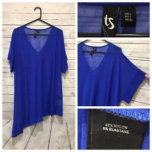 TAKING SHAPE Size L (AU 20 22) Blue Mesh Short Sleeve Tunic Top