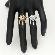 Gold tone dream catcher style lotus and leaf chandelier ring