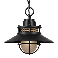 Rustic Design Liam Outdoor/Indoor Pendant Frosted Glass Shade Matte Black