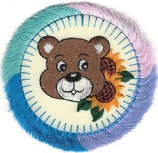Sunflower Teddy Bear Circle Pink Purple Blue Aqua Fringe Embroidery Patch