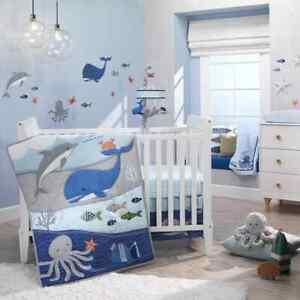Lambs Ivy Ocean Blue 5 Piece Baby Nursery Crib Bedding Set w/ Bumper NEW