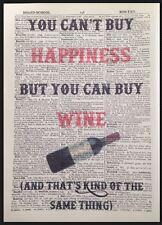 Vin Citation Drôle Vintage Dictionary Imprimé Image Art Mural Happiness Ami