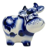 Gzhel Porcelain Cow Figurine, Symbol 2021, Handmade in Russia. GAVRYUSHA