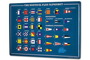 Tin Sign XXL Globetrotter Nautical flags alphabet metal plate plaque