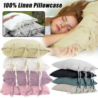 100% Natural Cotton Linen Pillowcase Lace Up Slip Flax Pillow Cover Bedding