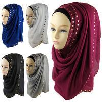 EE_ Women's New Muslim Hijab Rivet Islamic Scarf Shawl Head Wear Hat Sell In Cro