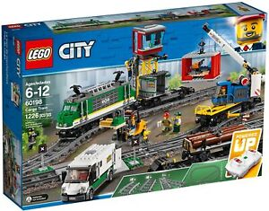 LEGO City Cargo Train 60198 (2018) Pre-Owned + 2 extra train track switches