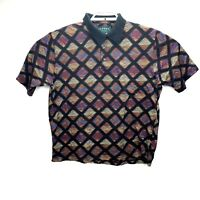 Tundra Canada Mens Size Large Multi color Design Polo Shirt VTG