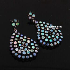 """Inlay /""""Black Australian/"""" FIRE OPAL Stud Round Earrings 925 STERLING SILVER #163"""