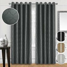 Pair Ready Made Thick Insulated Eyelet Ring Top Blackout Curtains In 4 Colors