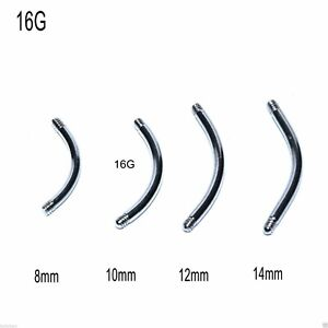 Threaded Barbell Blanks Curved Eyebrow Bars 5 Spare Surgical Steel 16g